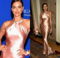 Wholesale Irina Shayk Rose Gold Mermaid Celebrity Dresses Criss Cross Neck Red Carpet Evening Party Gowns Formal Prom Dress Vestidos Longo
