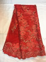 Wholesale Wonderful red wedding embroidery African tulle fabric top selling French net lace for dress QN26