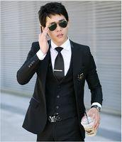 best suit fabrics - Hot Sale new fashion Korean Serge fabric Nigeria groom best men suits for wedding black M XXL