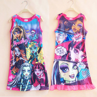 Wholesale Fashion High quality New Cotton Kids Girls Cartoon Monster High Printed sleeveless nightgown