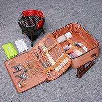 barbeque grill tool sets - Portable Barbeque Tools Set Camping Hiking Picnic BBQ Grill Knives Forks Plates Cloth Napkins with Bag Popular Outdoor BBQ Set