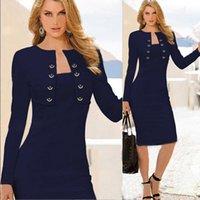 Wholesale 2015 New Women Fashion Dresses Long Sleeve Empire Knee Length OL Work Dress Two Piece Buttons Design Pencil Dresses
