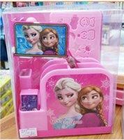 Wholesale Creative pink girls present kids school supplies cartoon anna elsa pen holders study set pencils ball pen container sharpener ruler eraser
