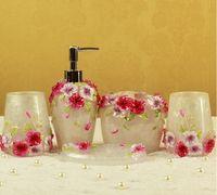 bath suites - European bath Bathroom suite Bathroom five pieces white and pink creative wedding supplies resin Cups Kit
