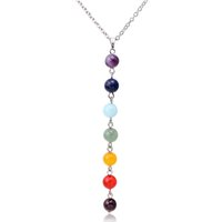 beach stones - Newest fashion lady chain jewelry chakra style round Amethyst stone pendant necklace summer beach women mix color beaded necklaces