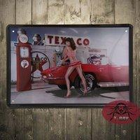 antique gas pump - Popular gift metal poster Sexy Pin Up Girl at Gas Pump Station Tin Sign Metal Art Wall Decor Garage