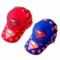 baseball helmet sizes - 2016 New popular Superhero unisex kids cap Cartoon children baseball sunshade cap cm cm blue and red color sun helmet