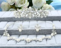 tiara and jewelry set - Bridal Necklace and Earring Pearls Tiara Rhinestone Crystals Three Pieces Accessories Bridal Jewelry for Wedding Party