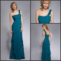 Reference Images One-Shoulder Chiffon Tiered Cascading Ruffles Chiffon Prom Dress One Shoulder Peacock Green Evening Dresses Floor Length A Line T Platform Show Dress YDD