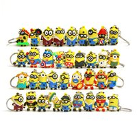 Wholesale Minion Doll D Key Chain Minions Keychain Key Ring Cartoon Movie Despicable Me Action Figure Boys Girls Christmas Promotion Gift