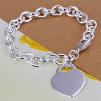 925 sterling silver bracelet - Hot Selling Sterling Silver Heart Pendant Round Pendant Links Chain Bracelet Summer Bracelets Jewelry