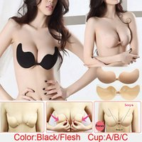 Wholesale Women Sexy Push Up Bra Front Closure Self Adhesive Silicone Seamless Strapless Bra For Wedding Party Swimming