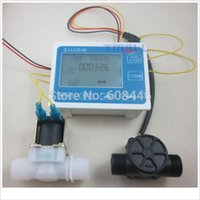 Wholesale G1 quot Water Flow Control LCD Display Flow Sensor Meter Solenoid Valve Gauge New