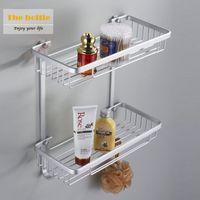 aluminum corner bracket - Double tier Space aluminum bathroom shelf dual tier square corner bracket shelf