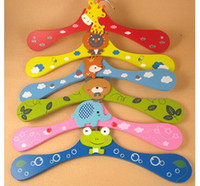 clothes rack - Children Clothes Rack Cute Wooden Cartoon Animal Baby Coat Hanger Kids clothes stand happy life ps