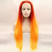Wholesale Lace Front Red Cosplay Wig - Straight Synthetic Wig Orange Red Color Lace Front Cosplay Wig Heat Safe Japanese Synthetic Fibre free shipping