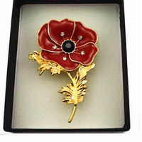brooch sale - Gold Tone Red Enamel Poppy Brooch UK Fashion Hot Sale Crystal Diamante Poppy Flower Pin Brooches B857 UK Hot Sale Poppy Brooch Pins