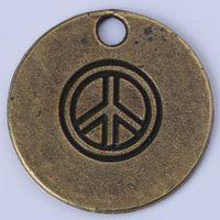 Wholesale Peace sign pendant DIY jewelry silver copper Retro Circular charm fit Necklace or Bracelets c