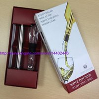 Wholesale 200sets NEW Stainless Steel Wine Cooling stick Corkcicle White Red Wine Chiller Replace the Ice Bucket