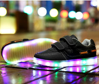 velcro - LED Lighted Shoes for Kids Boys Girls Children Shoes Halloween gifts Hip hop Fashion Sneakers US10 EU27 UK9 US5 EU37 UK4