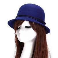 Wholesale Newest Vintage Women Winter Fedoras Caps Cute Trendy Wool Felt Bowler Derby Fedora Cap Retro Bowknot Bucket Hats