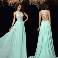 Vestidos de noche de color verde claro Una línea de tren de barrido de joya perlas de encaje vestido de celebridad de gasa W3933