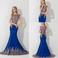 Wholesale Hot Selling Exquisite Applique Evening Dresses Sheer Neck Cap Sleeves Royal Blue Pageant Dress Backless Mermaid Prom Gowns BZP0682