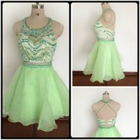 Wholesale 2016 Mint Short Homecoming Dresses Scoop Neck Sleeveless Organza Beaded Crystals Two Pieces Prom Party Dress Real Photos