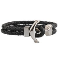 Wholesale men accessories Cool Mens Genuine Black Braided Leather Stainless Steel silver Curb Chain Bracelet bracelets