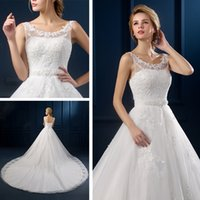 Wholesale Long Tail wedding dress new summer simple white scoop neck sleeveless lace up tulle sweep train bridal dresses custom