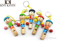 Wholesale Cute Baby Wood Cartoon Pirate Toy Hanging Key Chain Bell Whistling Musical Instrument Rattle
