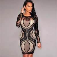 Wholesale Sexy Club Dress O neck Long Sleeve Hollow Lace Mini Bodycon Dresses Vestidos Casual Bandage Party Dresses OXL082703