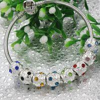 Wholesale MIC New mm Rhinestone Crystal Round Big Hole Beads Fit European Cham Bracelet Colors