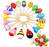 Wholesale 2016 Wooden Maraca Wood Rattles Kids Musical Party favor Child Baby shaker Toy Color Randomly