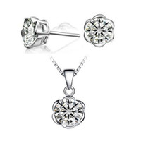 wicker furniture - Wicker Furniture White Wedding Jewelry Sets Sterling Silver Set Flower Crystal Necklace Pendant Earrings for Women Bijoux Pendants T178