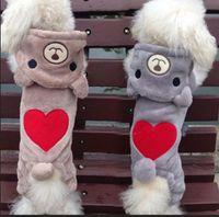 Wholesale Winter Cute Bear Hoodie Pet Dog Clothes Puppy Love Heart Crossdressers Fleece Coat Warm Costumes
