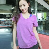 Wholesale 2016 Hot Sell Korean Style V Collar Quick Dry Sweat Running Outdoors Fitness Yoga Aerobics Sports Short Sleeved T shirt for Women