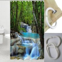 Wholesale 72 Inch Waterfalls Nature Scenery Shower Curtain Bathroom Waterproof Fabric AF0158