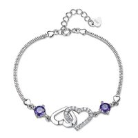 big chain link bracelet - 925 sterling silver heart shaped female natural amethyst bracelet Korean version of the big European and American fashion jewelry