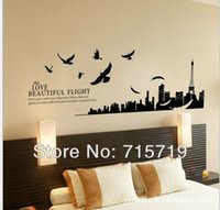 Graphic vinyl beautiful love bird - JY New black color pieces cm Flying Bird Modern Building LOVE BEAUTIFUL Living Room Mural Art Vinyl Wall Sticker Decor