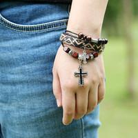 american flag bracelet - Leather Bracelet Jewelry For Man Bracelet For Women Black Leather Ginger Snap Bracelet With Loose Stanless Wood Beads Cross B01353BROWN