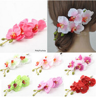 Wholesale 10 off new arrival Colorful Bridal Wedding Orchid Flower Hair Clip Barrette Accessories Hairpin Wedding flower decoration