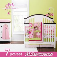 giraffe print - Hot Fashion Crib Set Giraffe Bedding Sets Baby Elephant Cribs Pink Animal Cot Bedding for Girls Cotton Reactive Printing