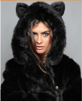 bears winter jacket - Winter Womens Long Sleeve Faux Fur Jacket Hooded With Bear Ear Cute Thick Coat Outerwear Overcoat Parka color szie s xl free shiping