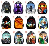 Wholesale 12 Inch Cartoon backpack new Star Wars Superhero Movie Harry Potter ninjia The Avengers Batman D Lego Schoolbag style B001