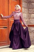 Half Sleeve arabic design photos - Arabic New Design Elegant Evening Dresses Sequins Top Long Sleeves High Neck Sweep Train Mermaid Prom Dress Formal Gowns