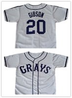Wholesale Josh Gibson GRAYS Negro League Baseball Jersey Throwback Mens Gray New Material jerseys stitched S XL