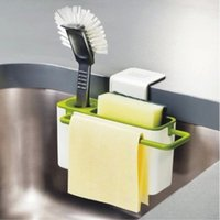 Wholesale Multifunctional cupsful sink shelf drain rack washing brush dishclout storage rack sponge holder A198