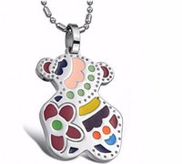 animal teddies - To us spanish jewelry Bear necklace tousingly pendant Fashion enemal Teddy jewelry Cute Titanium stainless Steel women cm chain