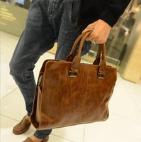 Wholesale Crazy Horse PU Leather Men Bags Business Men s Briefcase Vintage Shoulder Messenger Bags Travel Fashion Brand New